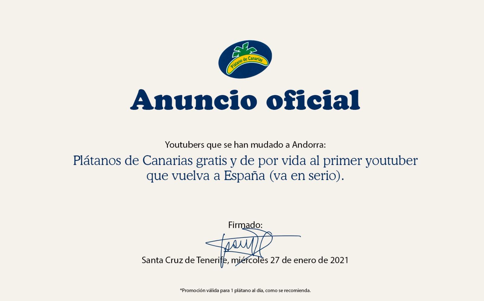 Plátanos de Canarias, GRATIS, al primer youtuber que venga de Andorra